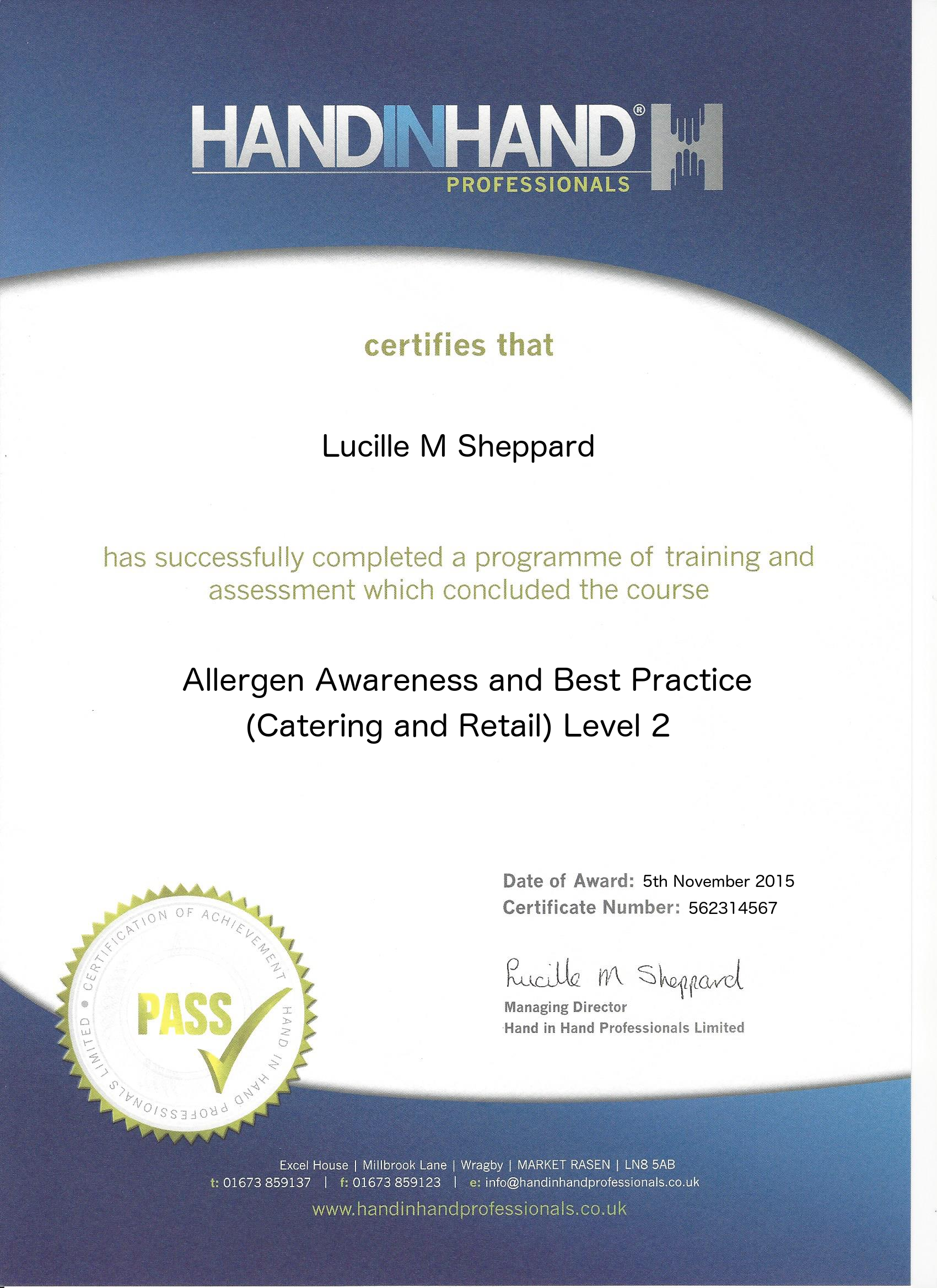 allergen awareness and best practice catering and retail level 2 course certificate