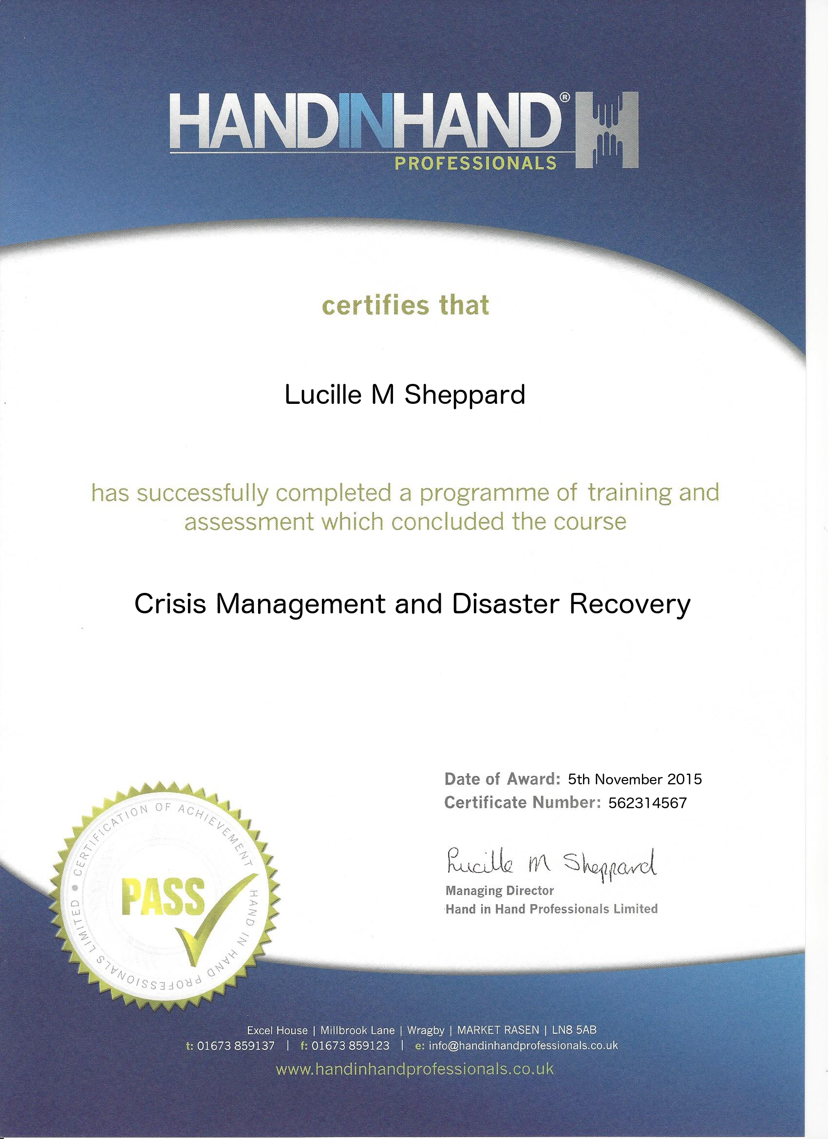 crisis management and disaster recovery course certificate