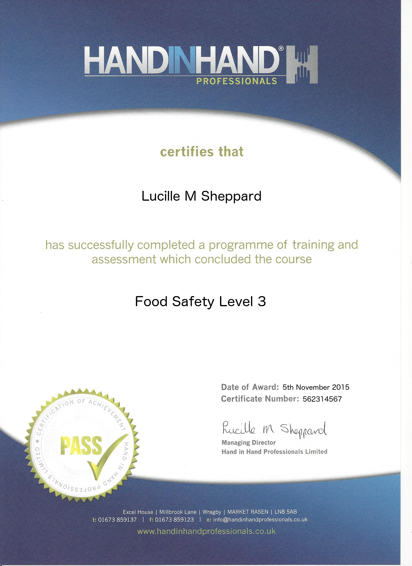 food safety level 3 course certificate