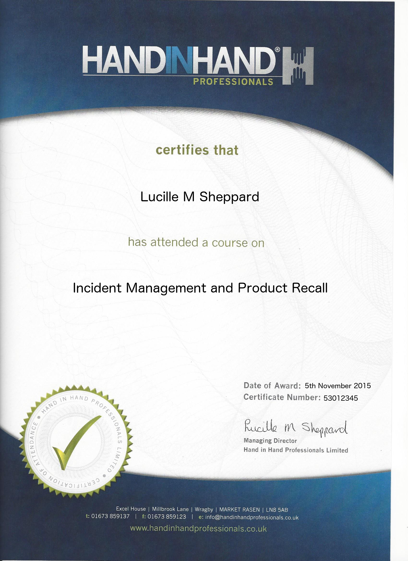 incident management and product recall course certificate