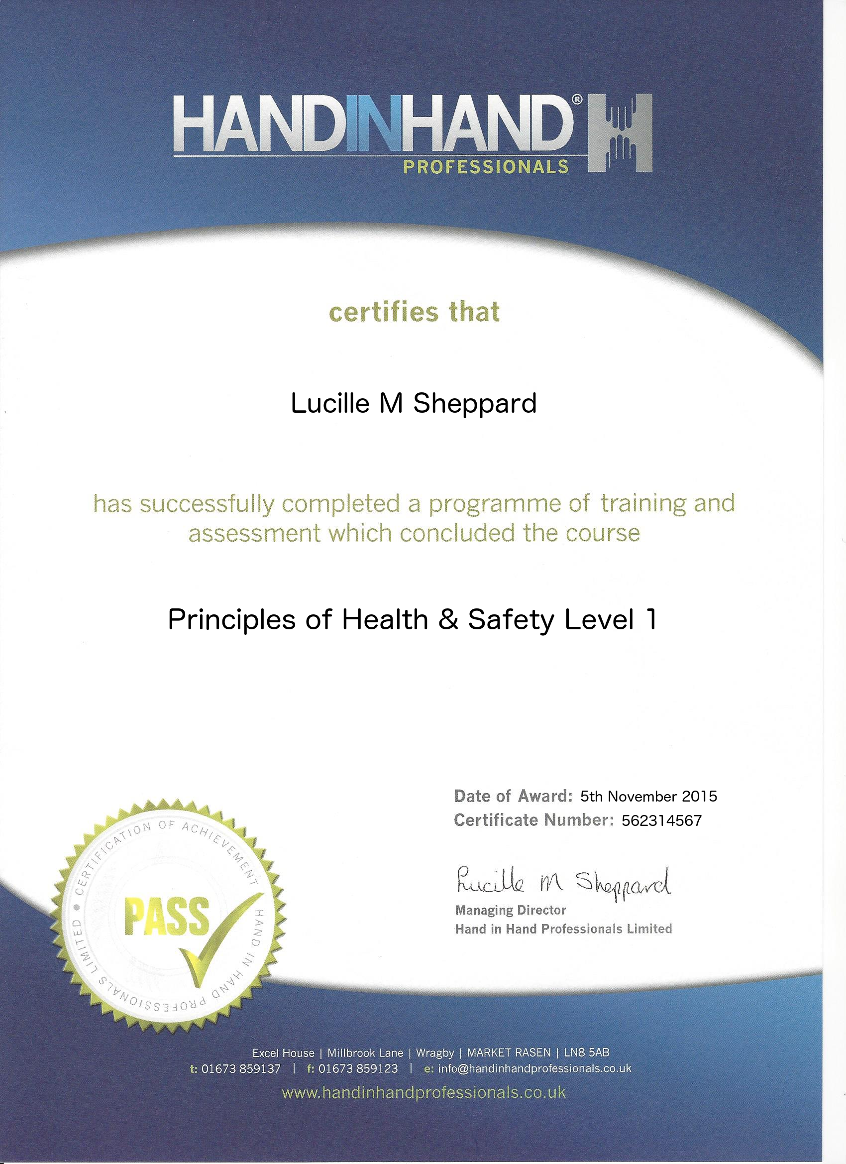 principles of health and safety level 1 course certificate
